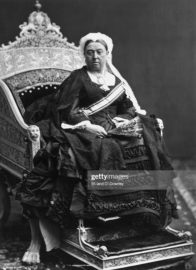 Queen Victoria of Great Britain sitting on an ivory throne presented to her by the Rajah of Travancore