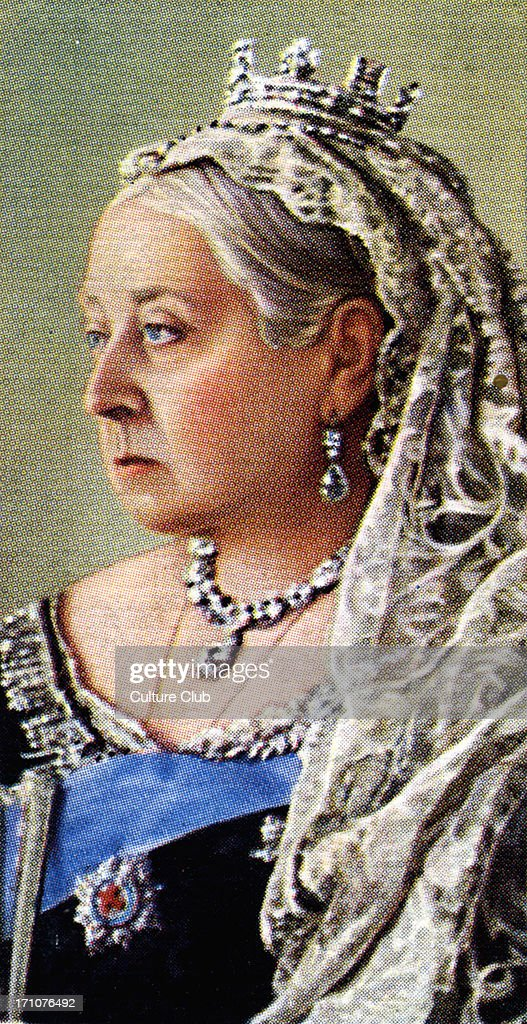 Queen Victoria portrait (Reigned 1837 - 1901). A niece of William IV, Princess Victoria came to the throne aged 18, three years later she married Prince Albert of Saxe - Coburg. Her lifetime saw the expansion of the British Empire. From Player's cigarette cards, based on a photograph by W. and D. Downey.
