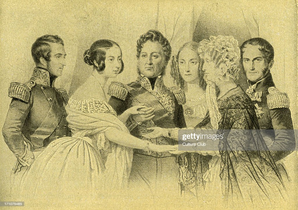 Queen Victoria Prince Albert of England on a visit to Paris meeting the French and Belgian royal families Shown from left to right Prince Albert of...