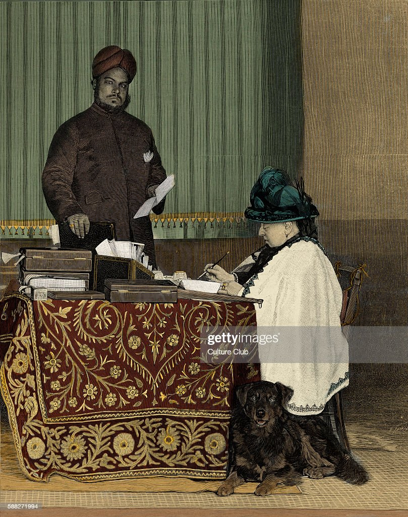 Queen Victoria Queen of the United Kingdom with her Indian secretary at Balmoral Castle shortly before her death 24 May 1819 22 January 1901 Queen...