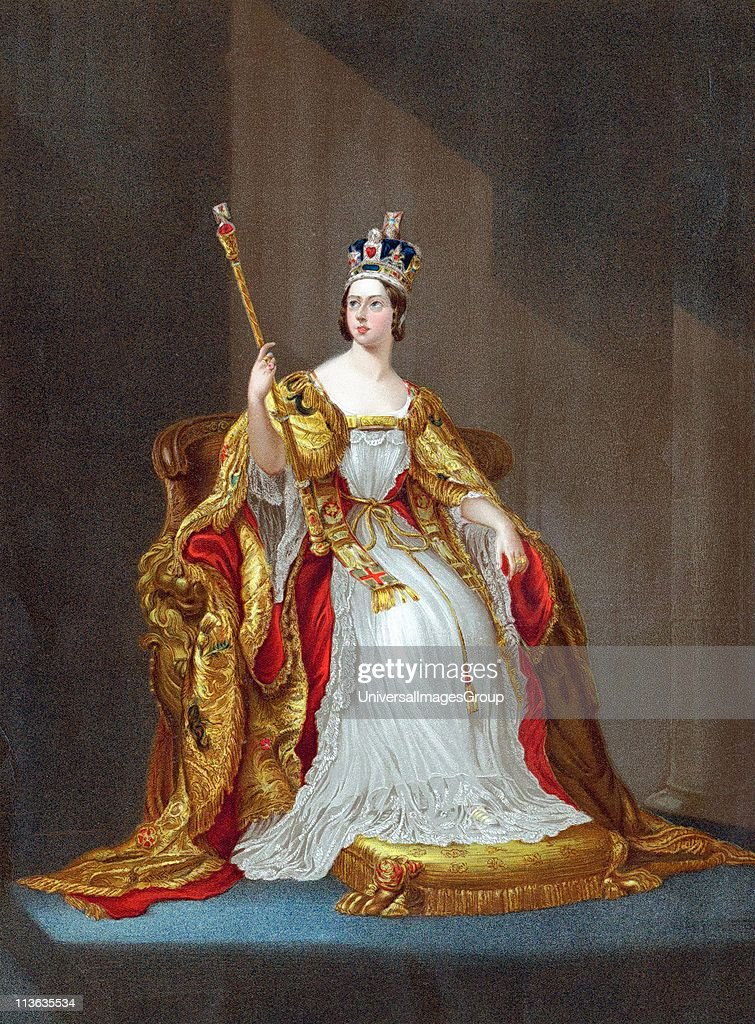 Queen Victoria queen of United Kingdom 1837 Empress of India 1876 crowned 1838 Victoria on throne in coronation robes wearing crown and holding...