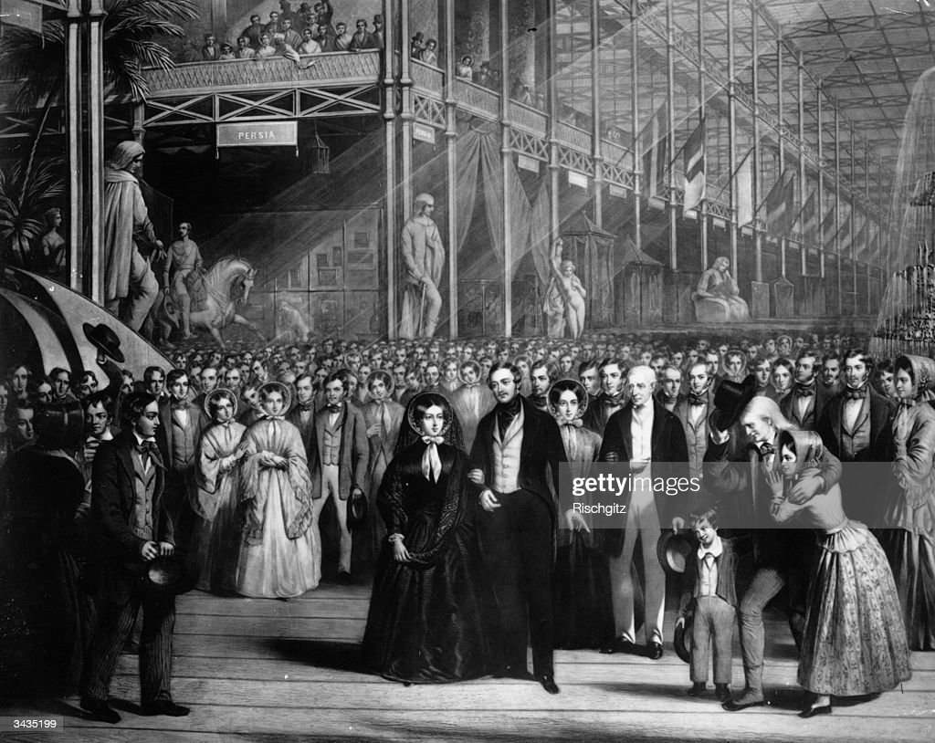 Queen Victoria with her consort Prince Albert and the Duke of Wellington at the opening of the Great Exhibition at Crystal Palace Hyde Park London An...