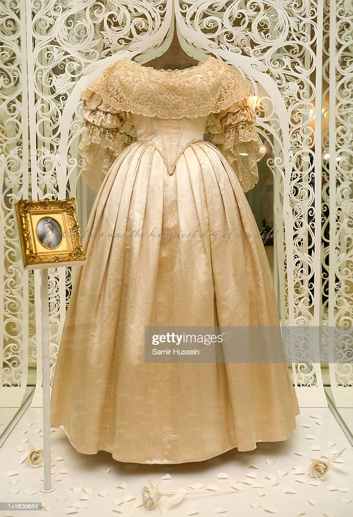 Queen Victoria's wedding dress on display in the 'Love Room' in Kensington Palace in London England Kensington Palace is due to reopen to the public...