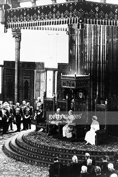 Queen Wilhelmina of Netherlands surrounded by husband Prince Henry and daughter Crown Princess Juliana giving a speech from the throne during the...