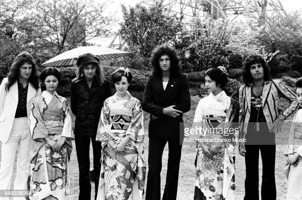 Queen with kimono girls at the Tokyo Prince Hotel's garden April 20th 1975
