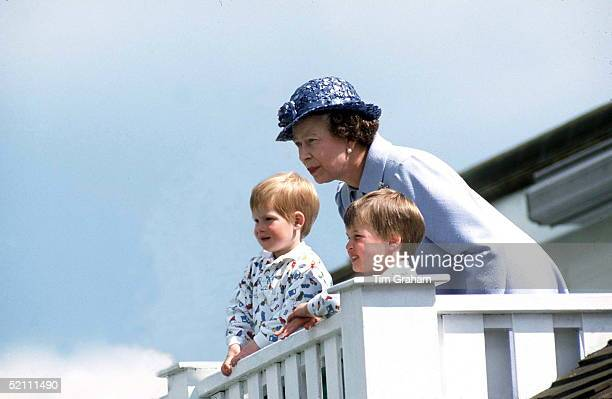Queen With Prince William Prince Henry At Polo