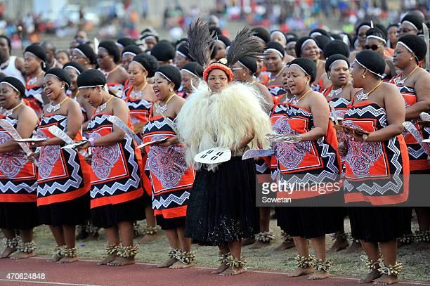 Queen Zola Mafu of Swaziland during her wedding to Zulu King Goodwill Zwelithini at Ondini Sports Complex on July 26 2014 in Ulundi South Africa Mafu...