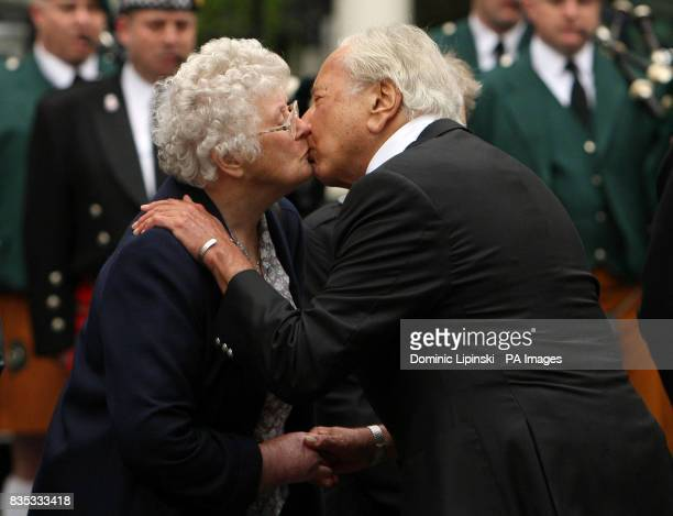 Queenie Fletcher the mother of Pc Yvonne Fletcher and founder of the Police Memorial Trust Michael Winner at a memorial service in St James's Square...