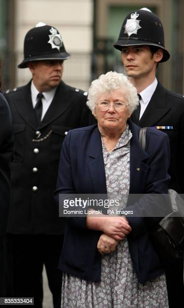 Queenie Fletcher the mother of Pc Yvonne Fletcher at a memorial service in St James's Square London to mark the 25th anniversary of her murder