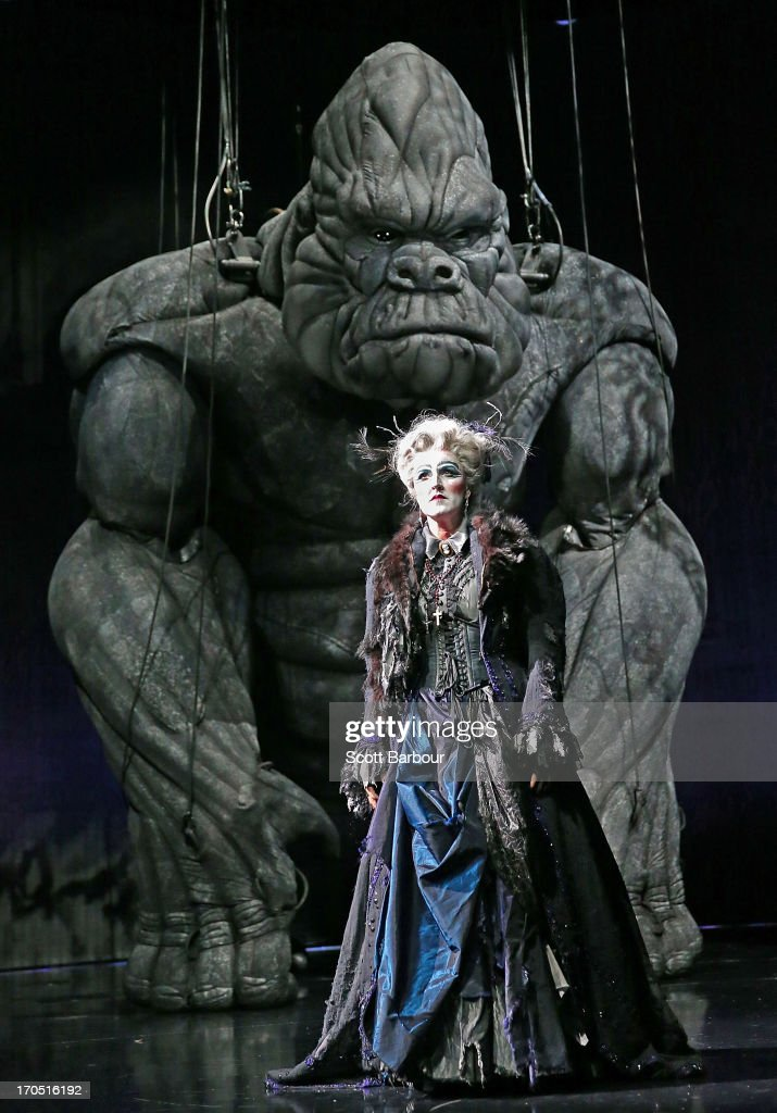 Queenie van de Zandt who plays Cassandra and High Priestess performs with King Kong on stage during a 'King Kong' production media call at the Regent Theatre on June 14, 2013 in Melbourne, Australia. Based on the novel of the original 1933 screenplay and five years in the making, the new music theatre event King Kong will have its workd premiere on June 15th.