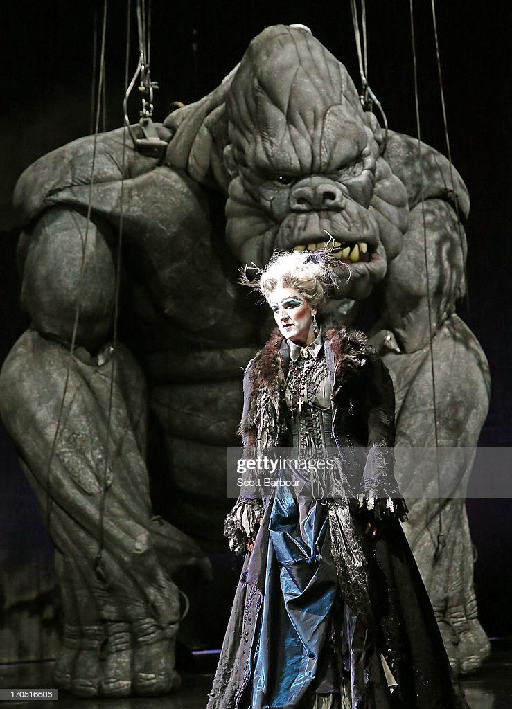 Queenie van de Zandt who plays Cassandra and High Priestess performs with King Kong on stage during a 'King Kong' production media call at the Regent Theatre on June 14, 2013 in Melbourne, Australia. Based on the novel of the original 1933 screenplay and five years in the making, the new music theatre event King Kong will have its world premiere on June 15th.
