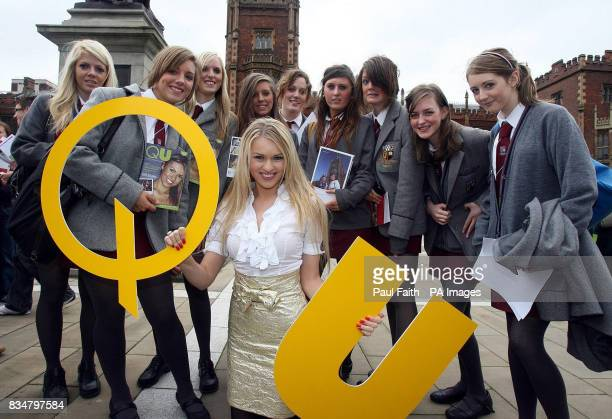 Queen's graduate Zoe Salmon pictured at the university with students from Victoria College Belfast to help launch an open day and QU a publication...