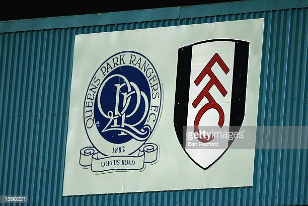 Queens Park Rangers and Fulham Football Club logos overlook the match during the FA Barclaycard Premiership match between Fulham and Tottenham...