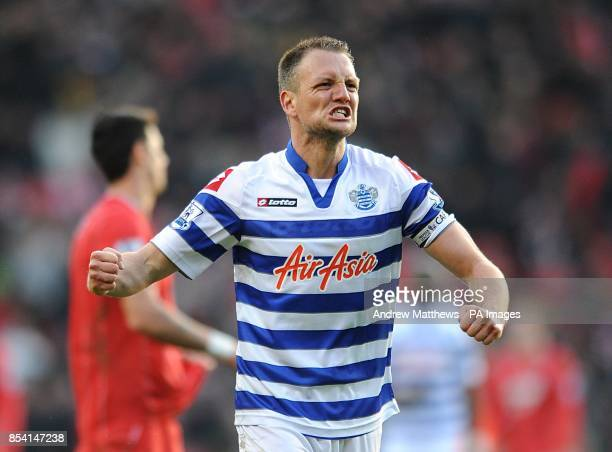 Queens Park Rangers' Clint Hill celebrates victory after the final whistle