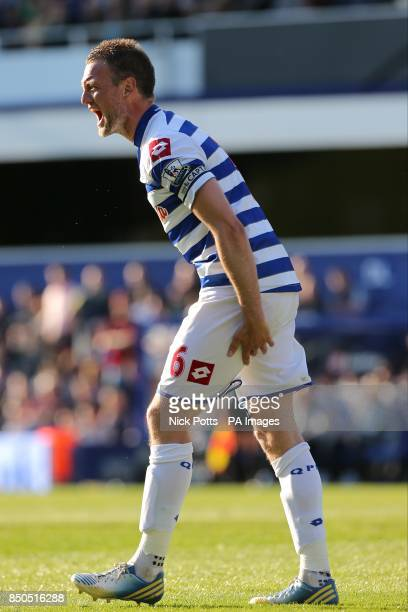Queens Park Rangers' Clint Hill shouts during the match