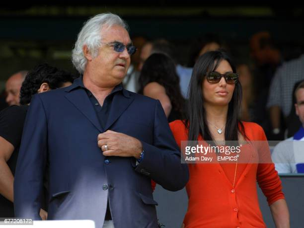 Queens Park Rangers coowner Flavio Briatore in the stands with his girlfriend Elisabetta Gregoraci