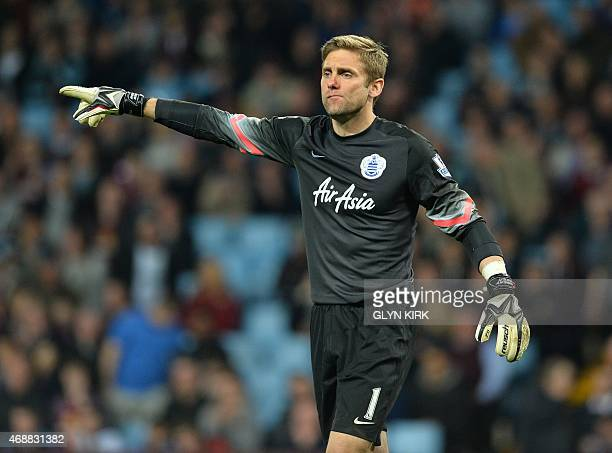 Queens Park Rangers' English goalkeeper Robert Green gestures during the English Premier League football match between Aston Villa and Queens Park...