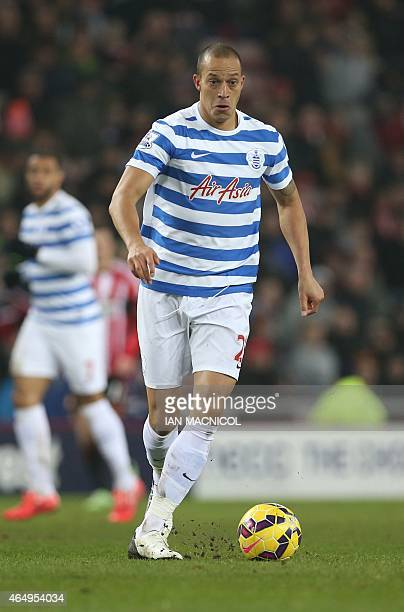 Queens Park Rangers' English striker Bobby Zamora plays the ball during the English Premier League football match between Sunderland and Queens Park...