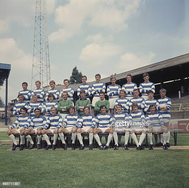 Queens Park Rangers Football Club squad posed together on the pitch at Loftus Road Stadium in London on 14th July 1969 prior to the start of the...