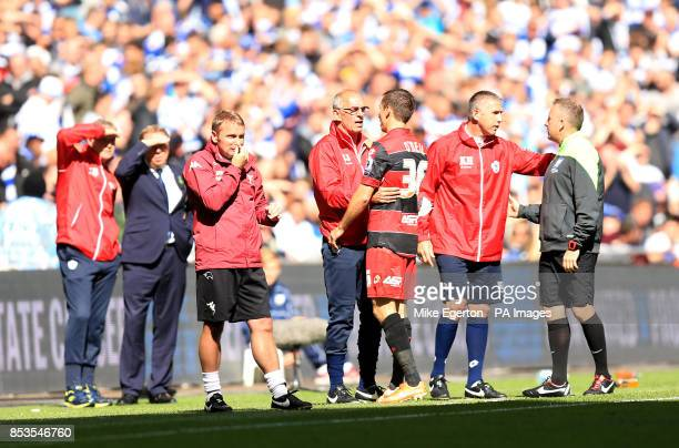 Queens Park Rangers' Gary O'Neil with first team coach Joe Jordan after being sent off for a foul on Derby County's Johnny Russell