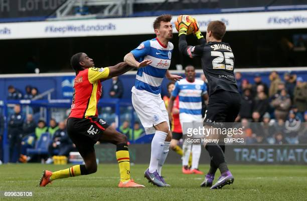Queens Park Rangers' Grant Hall and Alex Smithies and Birmingham City's Clayton Donaldson