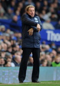 Queens Park Rangers Manager Harry Redknapp gestures during the Barclays Premier League match between Everton and Queens Park Rangers at Goodison Park...