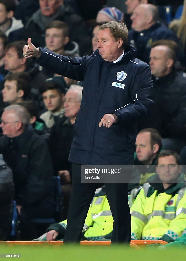 Queens Park Rangers manager <a gi-track='captionPersonalityLinkClicked' href=/galleries/search?phrase=Harry+Redknapp&family=editorial&specificpeople=204768 ng-click='$event.stopPropagation()'>Harry Redknapp</a> gives the thumbs up during the Barclays Premier League match between Chelsea and Queens Park Rangers at Stamford Bridge on January 2, 2013 in London, England.