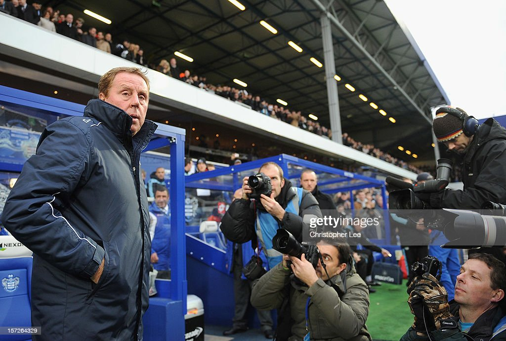 Queens Park Rangers manager Harry Redknapp looks on ahead of the Barclays Premier League match between Queens Park Rangers and Aston Villa at Loftus Road on December 1, 2012 in London, England.