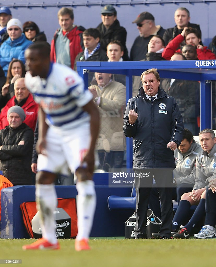 Queens Park Rangers manager <a gi-track='captionPersonalityLinkClicked' href=/galleries/search?phrase=Harry+Redknapp&family=editorial&specificpeople=204768 ng-click='$event.stopPropagation()'>Harry Redknapp</a> reacts during the Barclays Premier League match between Queens Park Rangers and Wigan Athletic at Loftus Road on April 7, 2013 in London, England.
