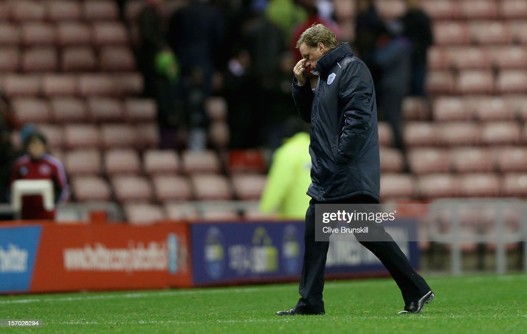 Queens Park Rangers manager Harry Redknapp shows his dejection as he walks off the pitch at the end of his first game in charge during the Barclays Premier League match between Sunderland and Queens Park Rangers at the Stadium of Light on November 27, 2012, in Sunderland, England.