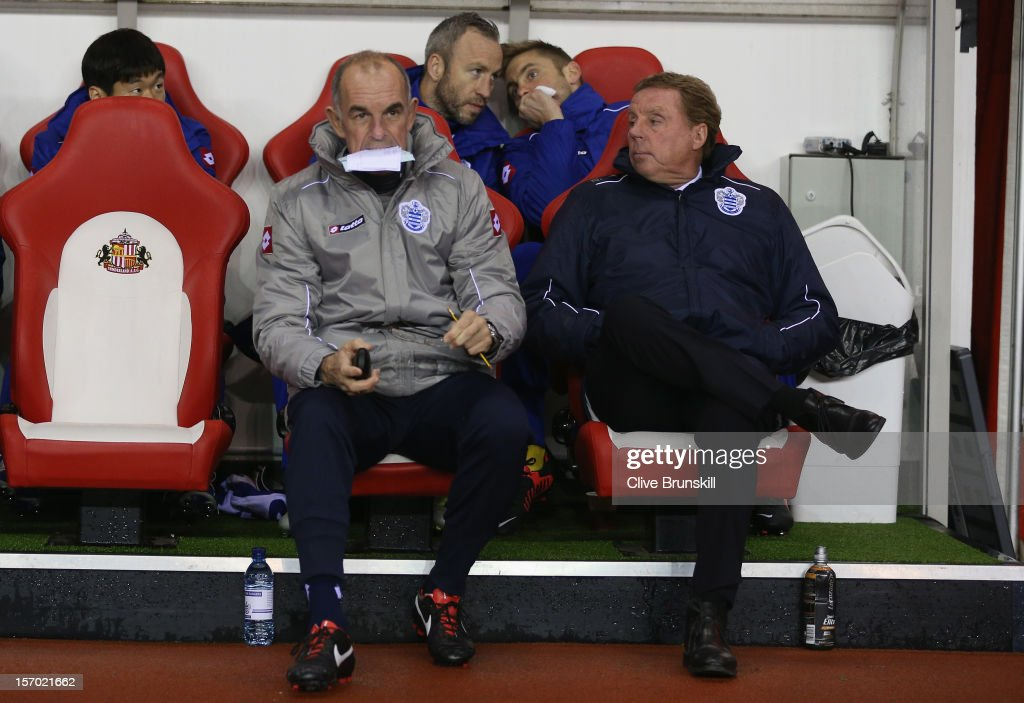 Queens Park Rangers manager Harry Redknapp sits next to his assistant manager Joe Jordan during the Barclays Premier League match between Sunderland and Queens Park Rangers at the Stadium of Light on November 27, 2012, in Sunderland, England.