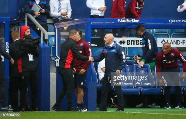 Queens Park Rangers manager Ian Holloway and Bournemouth manager Eddie Howe shake hands after the final whistle during the preseason match at the...