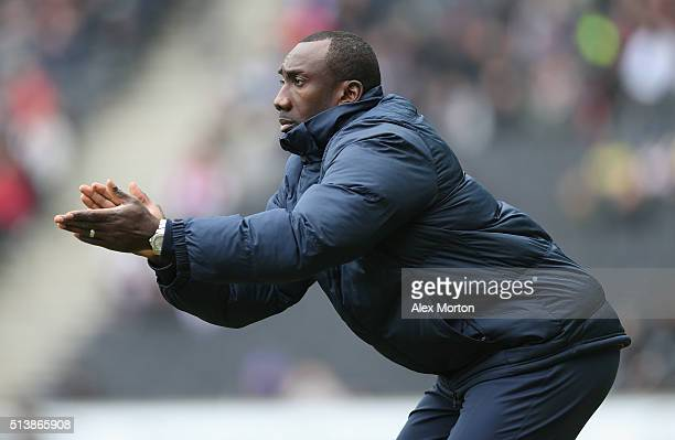 Queens Park Rangers manager Jimmy Floyd Hasselbaink during the Sky Bet Championship match between Milton Keynes Dons and Queens Park Rangers at...
