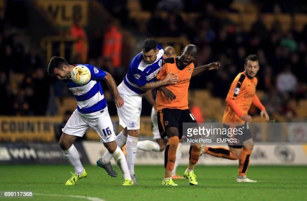 Queens Park Rangers' Michael Doughty and Wolverhampton Wanderers' Benik Afobe in action