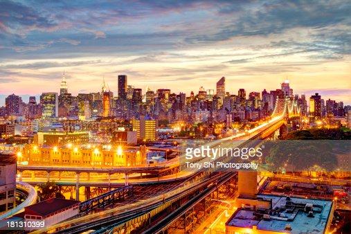 Queensboro Bridge and Manhattan Night Skyline