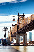Queensboro Bridge and Roosevelt Island on a cold winter day. New York.