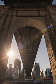 Sunlit breaking through the Queensboro Bridge on Roosevelt Island.