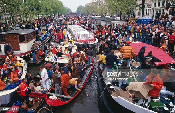 Queensday Festival on Herengracht canal.