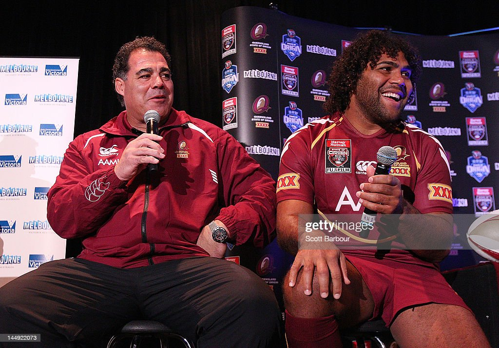 Queensland Coach Mal Meninga and Sam Thaiday speak to the media during a State of Origin press conference at Etihad Stadium on May 21, 2012 in Melbourne, Australia.