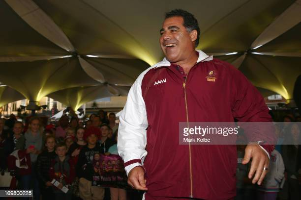 Queensland coach Mal Meninga shares a laugh on stage at the Queensland Maroons fan day at the Entertainment Quarter on June 2 2013 in Sydney Australia