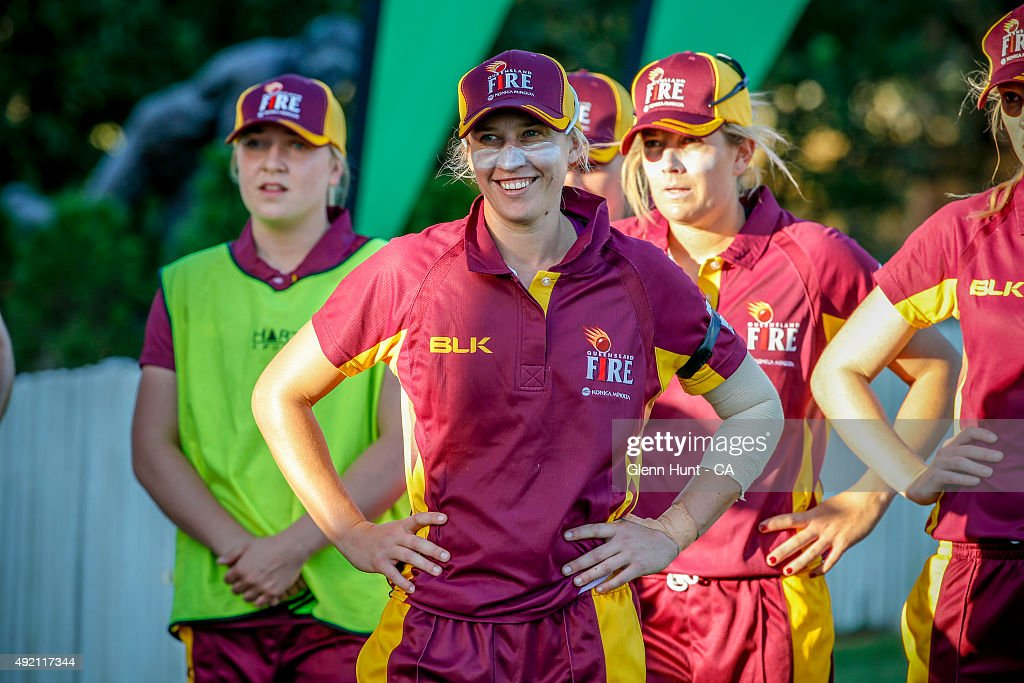 Queensland Fire Delissa Kimmince wins player of the match during round one WNCL match between Queensland and ACT at Allan Border Field on October 10...