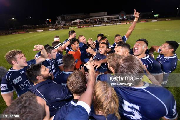 Queensland players celebrate victory during the NRC Grand Final match between Canberra and Queensland Country at Viking Park on November 11 2017 in...