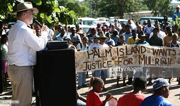 Queensland Premier Peter Beattie addresses protesters on Palm Island who were demonstrating over the death in custody of Aboriginal Mulrunji...