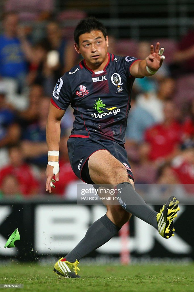 Queensland Reds Japanese import player Ayumu Goromaru kicks a conversion during the Super Rugby trial between Queensland Reds and Brumbies at Ballymore, Brisbane on February 12, 2016. The Super Rugby season starts on February 26. AFP PHOTO / PATRICK HAMILTON ---IMAGE RESTRICTED TO EDITORIAL USE - STRICTLY NO COMMERCIAL USE--- / AFP / PATRICK HAMILTON