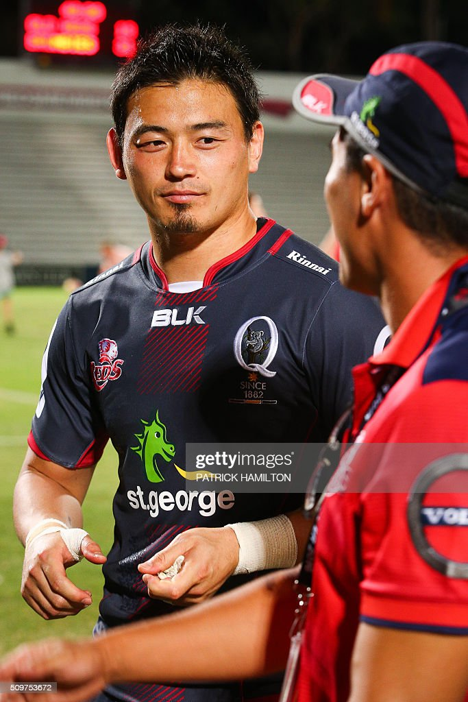 Queensland Reds Japanese import player Ayumu Goromaru looks on during an infield press conference following the Super Rugby trial between Queensland Reds and Brumbies at Ballymore, Brisbane on February 12, 2016. The Super Rugby season starts on February 26. AFP PHOTO / PATRICK HAMILTON ---IMAGE RESTRICTED TO EDITORIAL USE - STRICTLY NO COMMERCIAL USE--- / AFP / PATRICK HAMILTON
