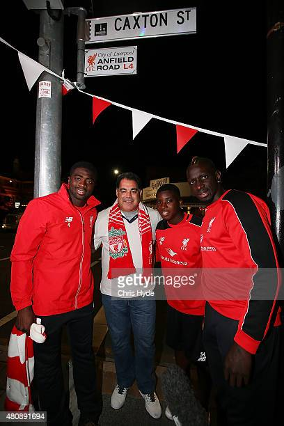 Queensland Rugby League legend and Liverpool FC fan Mal Meninga with Liverpool FC players Kolo Toure Sheyi Ojo and Mamadou Sakho at the renaming of...