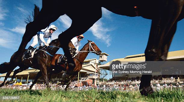 Queensland Winter Carnival Horse Racing at Eagle Farm The Brisbane Cup Race Day Image shows QTIS Handicap Race 4 competitors bringing up the rear...