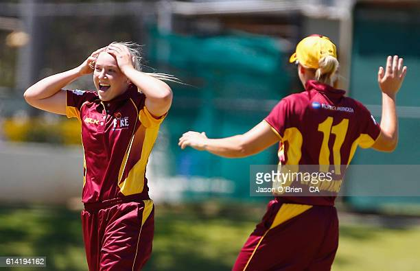 Queensland's Georgia Prestwidge celebrates the wicket of Georgia Redmayne during the WNCL match between Queensland and Tasmania at Allan Border Field...