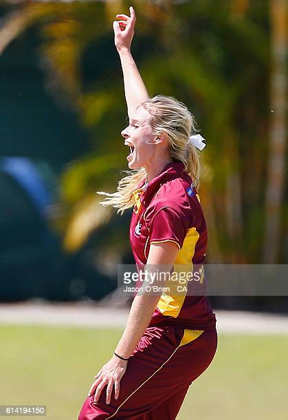 Queensland's Holly Ferling in action during the WNCL match between Queensland and Tasmania at Allan Border Field on October 13 2016 in Brisbane...