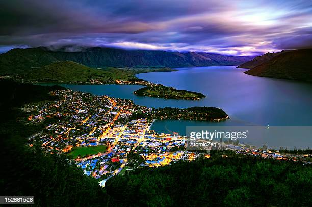 Queenstown city at dusk